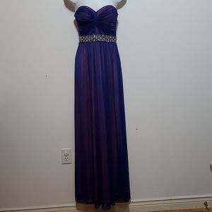 Simply Liliana purple strapless long gown.